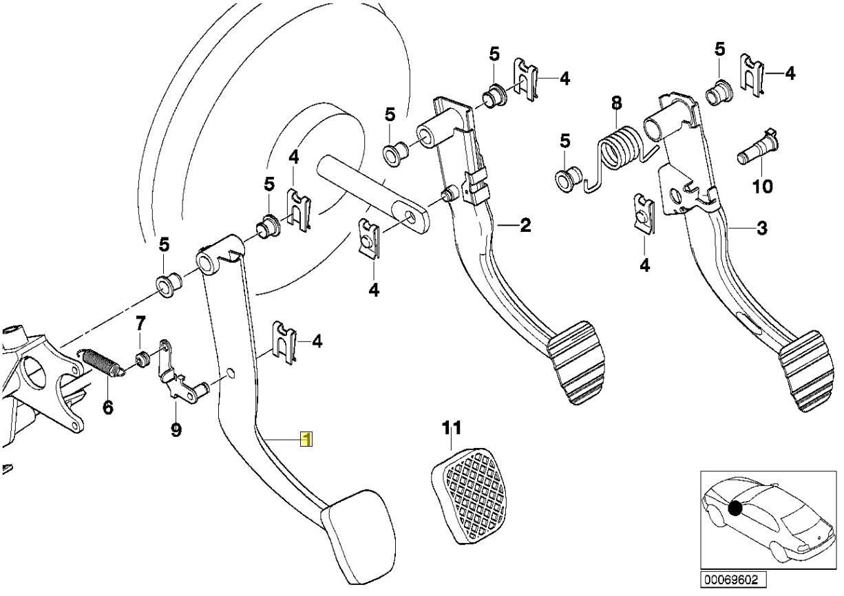 Bmw E39 E38 Brake Pedal Lever Automatic Rhd