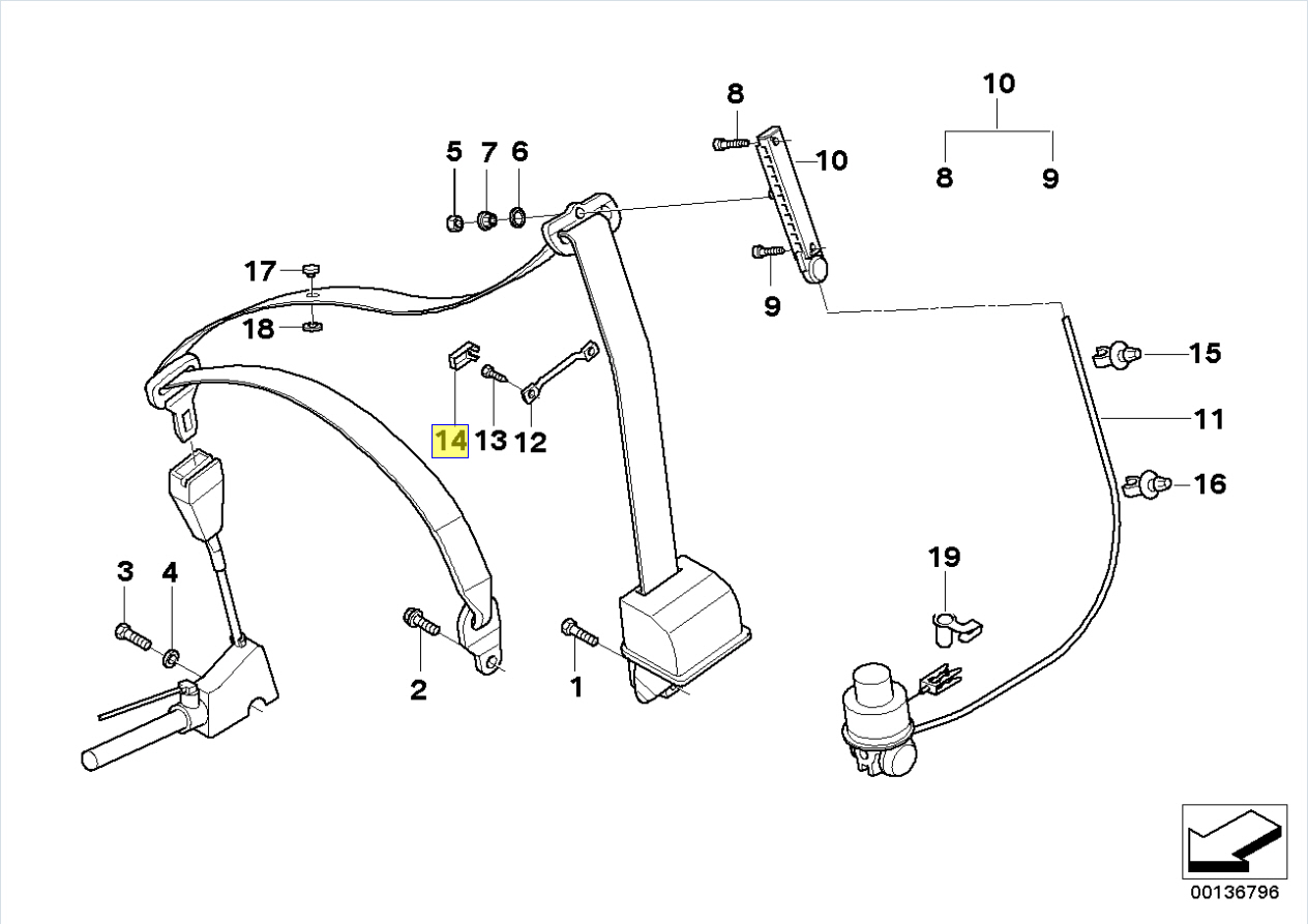 Bmw E39 Seat Belt Height Adjuster Cable Bracket