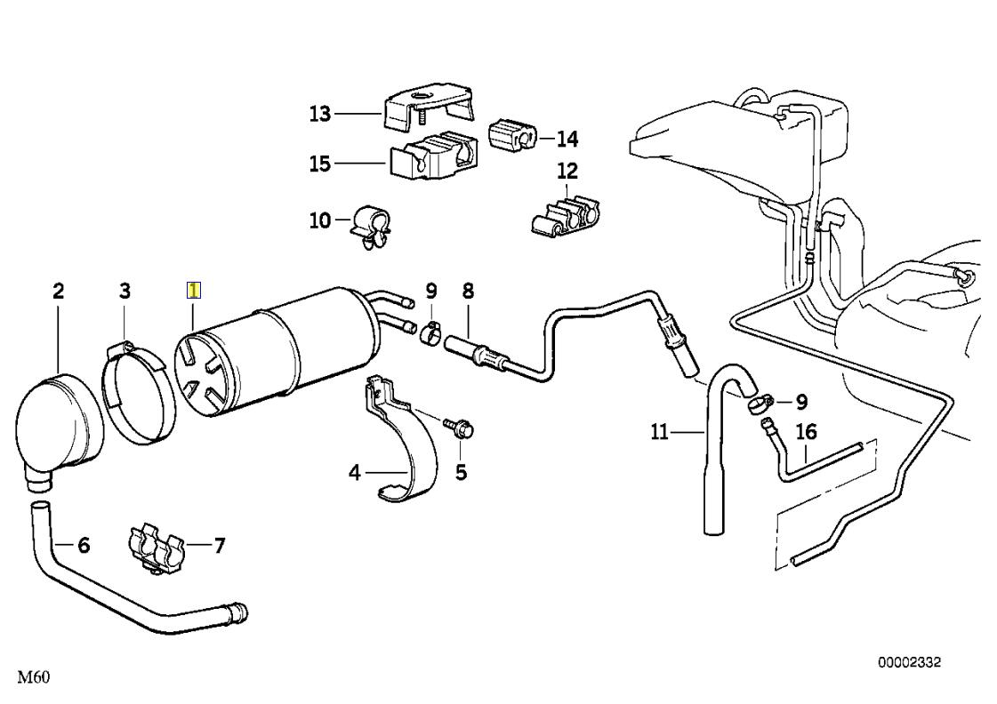 Bmw E34 E30 E28 E32 E36 Z1 Charcoal Canister