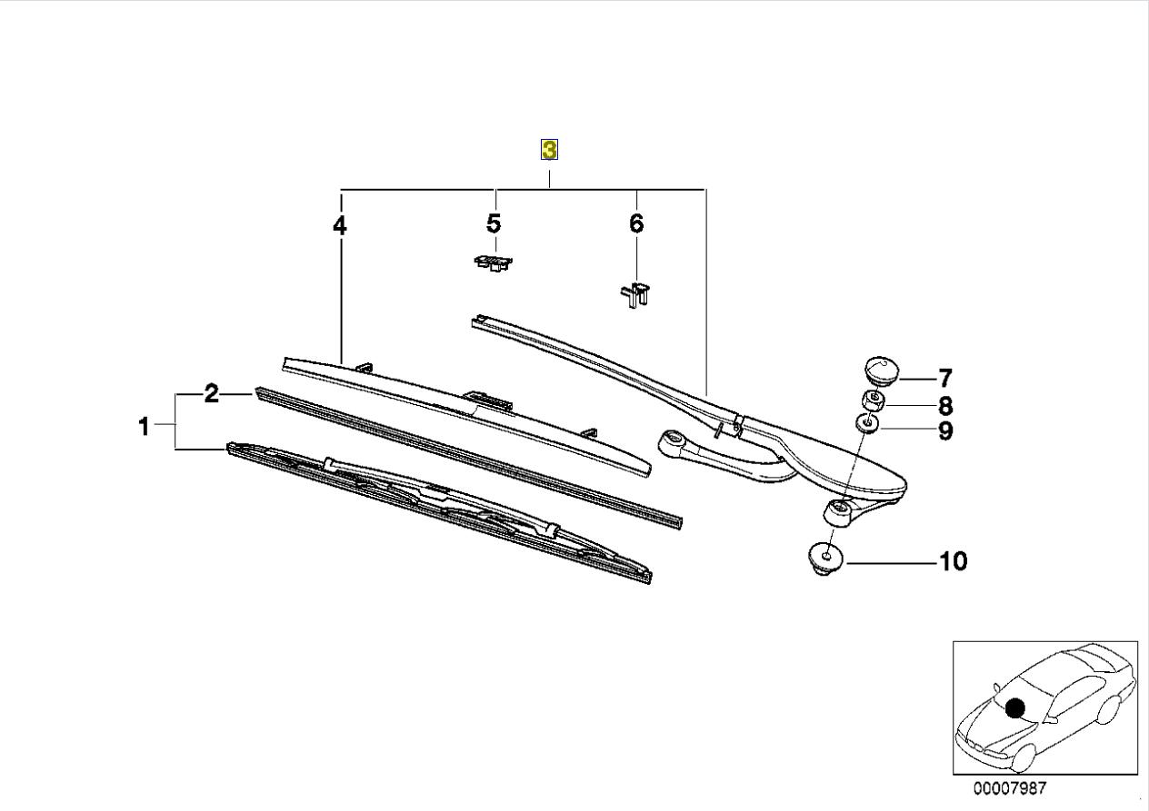 Bmw E39 Wind Screen Shield Wiper Arm Cover Trim