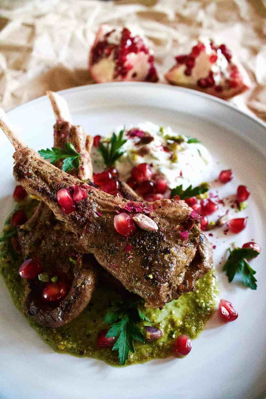 Grilled spring lamb cutlets