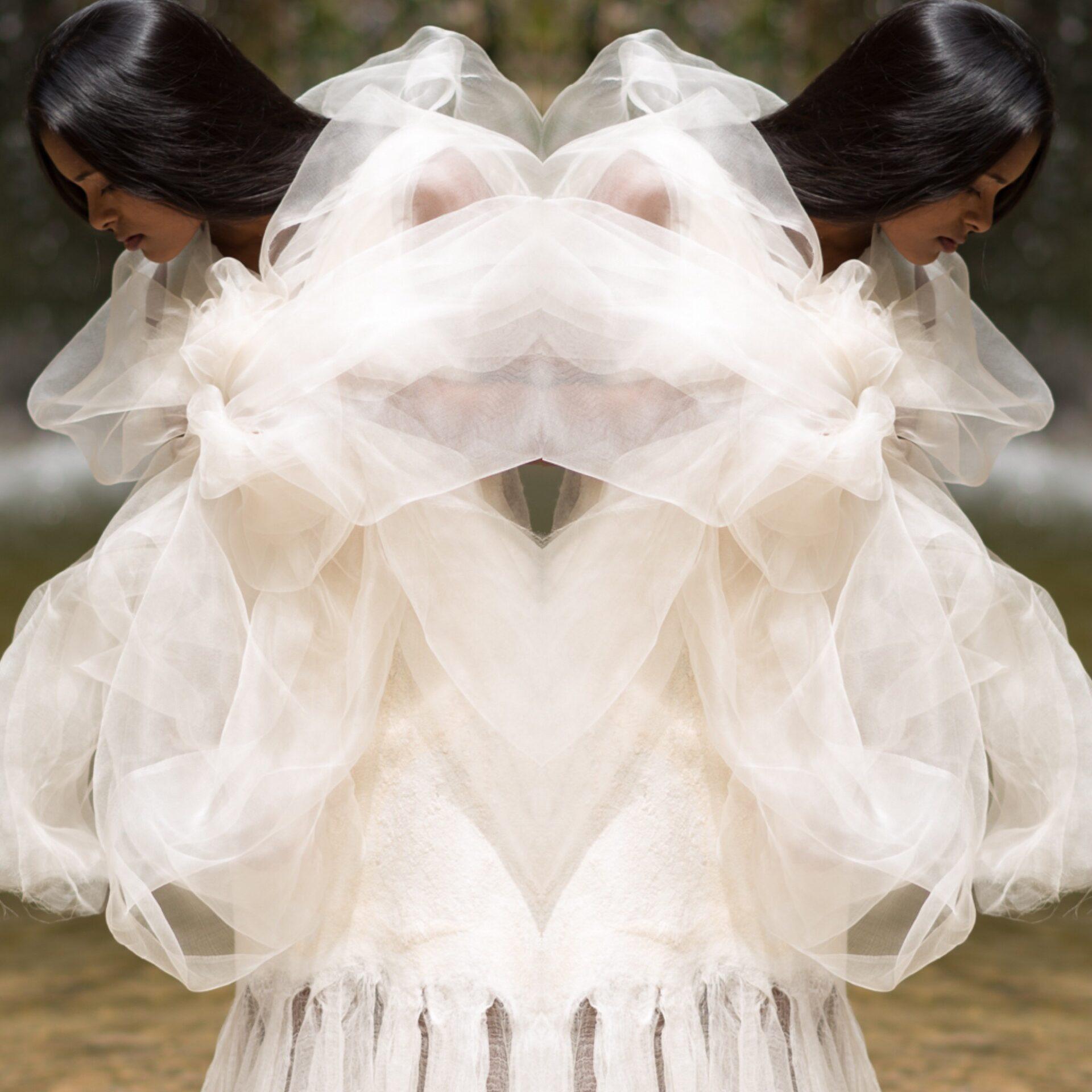 Weddingdress felted with wool an silk, Hochzeitskleid aus gefilzter Wolle und Seide