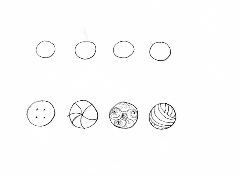 Col cerchio possiamo disegnare il bottone, la palla, la luna o il gomitolo e altri oggetti, prova tu a pensarne altri.