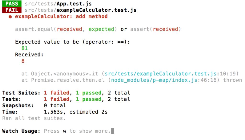 test javascript fallito