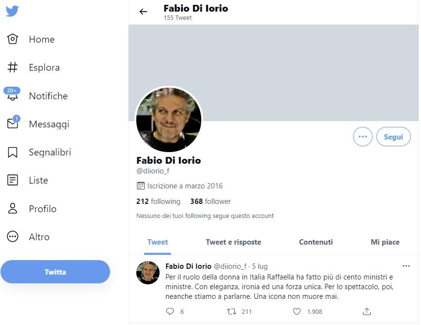 Raffa generosa il ricordo di Di Iorio. Il tweet di Fabio Di Iorio