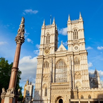 Western facade of Westminster Abbey with Westminster Column in London