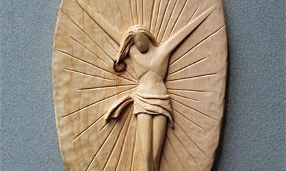 Scultore Paolo Moro. Sculture opere sacre. Cristo in legno di cirmolo anno 2013