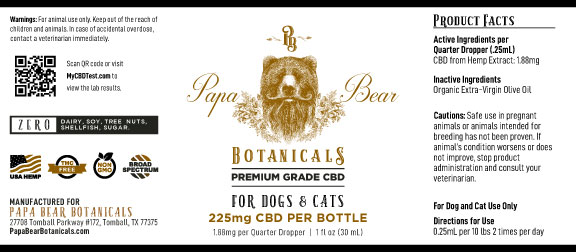 225 Pet tincture label