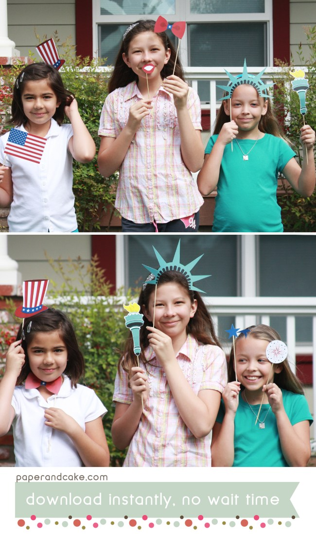 Patriotic photo booth props