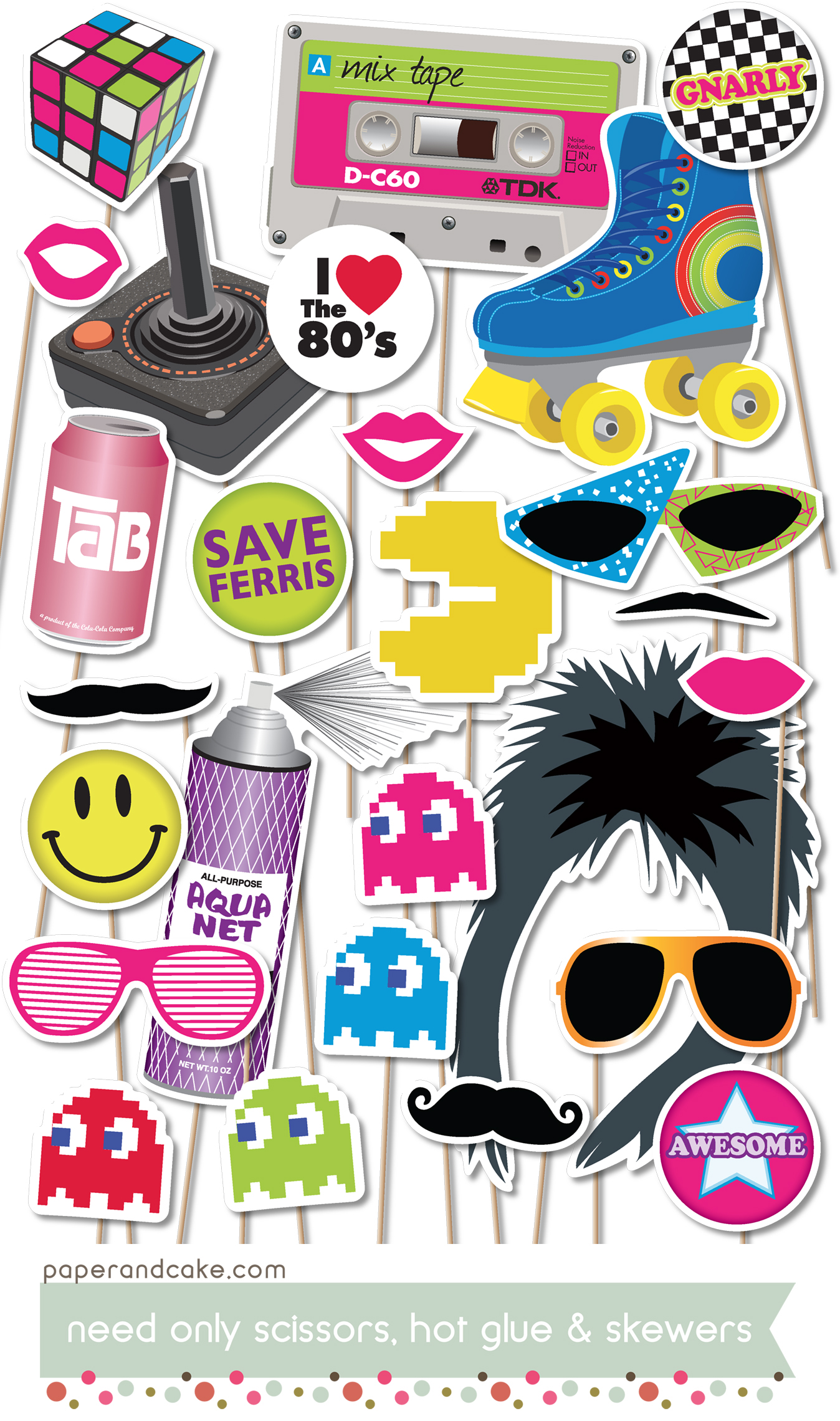 80s Printable Photo Booth Props Paper And Cake Paper And Cake