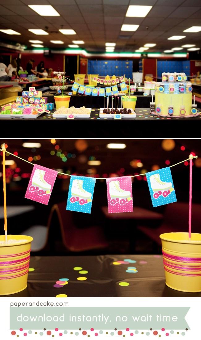 Neon Roller Skate Printable Birthday Party