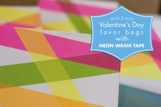 Neon Washi Tape Valentine's Day favor bag How-To