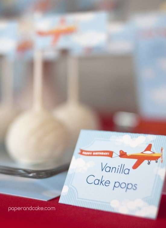 Airplane Birthday Printable Party cake pops