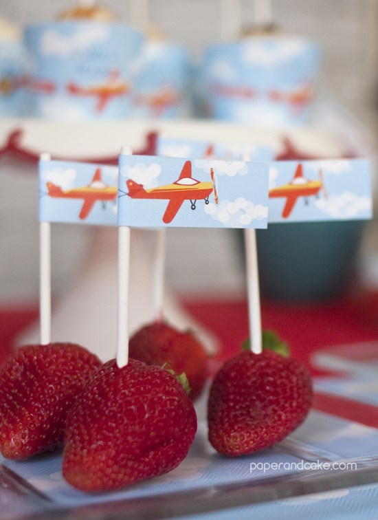 Airplane Birthday Printable Party strawberries