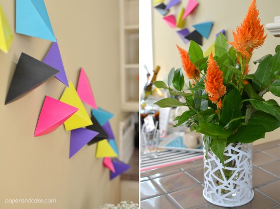 Neon Geometric Printable Party Decorations and Invitation