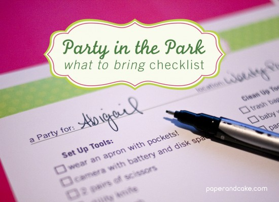 Party Spotlight Party In The Park Checklist Paper And Cake Paper And Cake