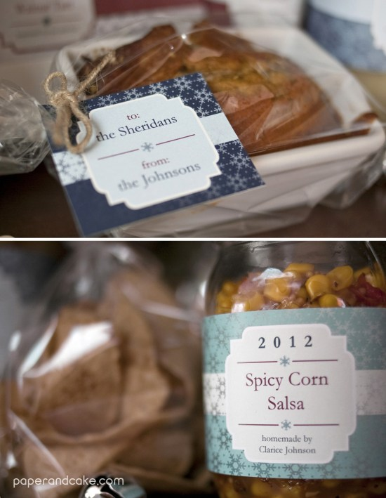 paper and cake winter gift giving set food labels
