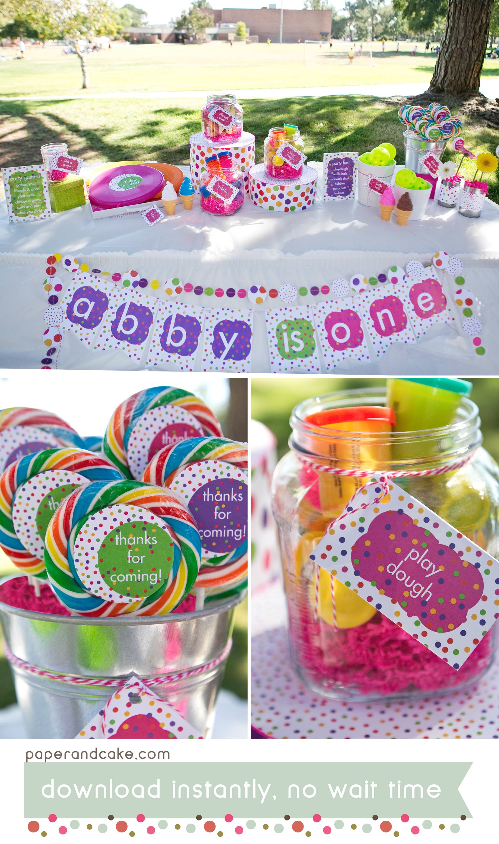 Polka Dots Printable Birthday Party Paper And Cake Paper And Cake