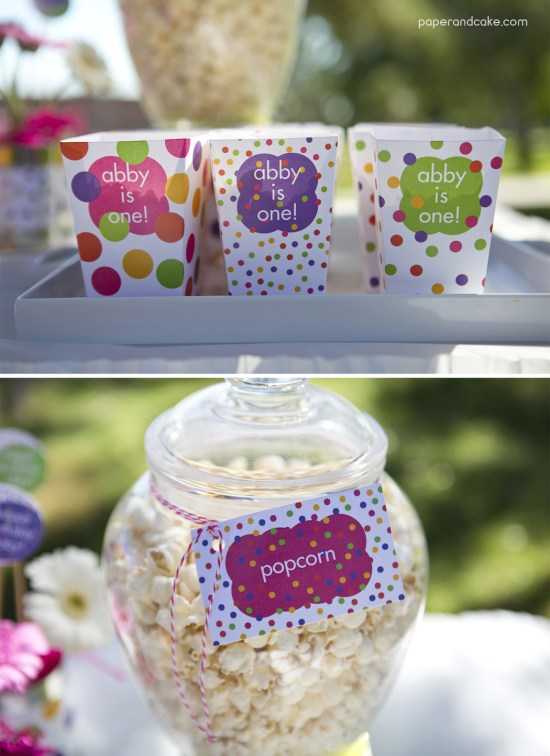 Paper and Cake Printable colorful polkda dot birthday party popcorn