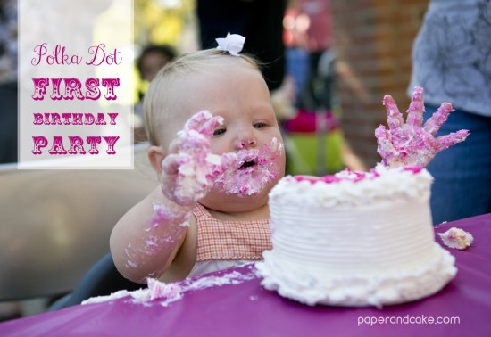 Paper and Cake Printable colorful polkda dot birthday party baby abby