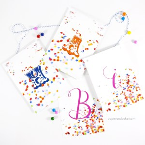 confetti happy birthday pennant banner