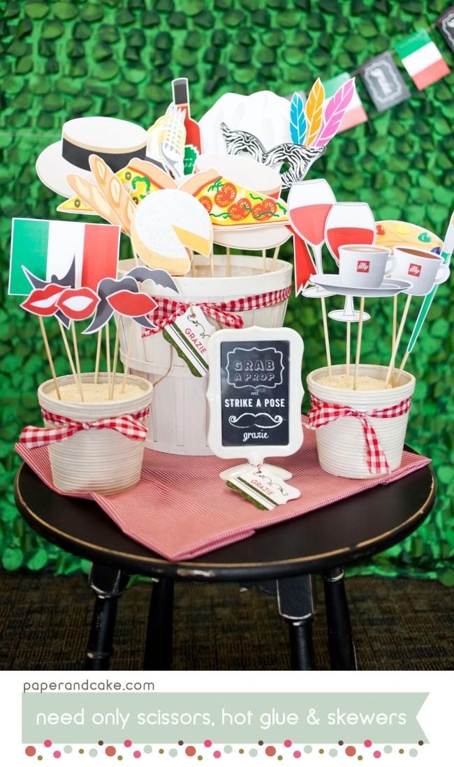 Printable Italian Photo Booth Props