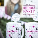 marbled paper party decorations