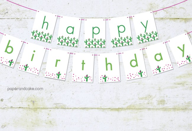cactus birthday banner