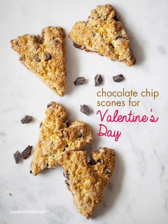 Chocolate Chip Scones for Valentine's Day