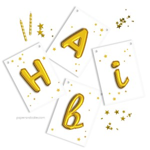 Gold Balloon Letters Birthday Banner