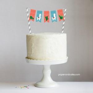 Alpaca Mini-Bunting Cake Topper