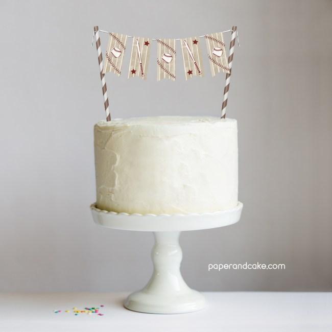 Baseball Mini-Bunting Cake Topper