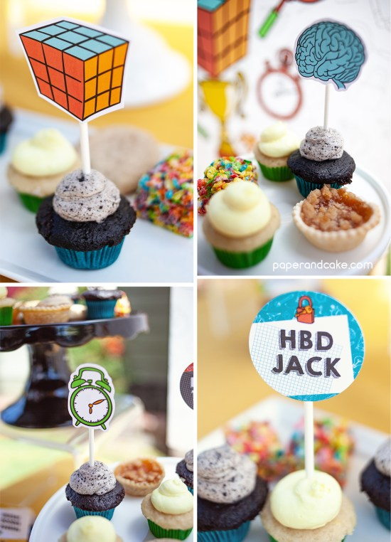 4 photo collage of cupcakes with decorative paper toppers on sticks
