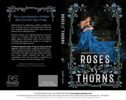Print layout for Pre-Made Book Cover ID#0513201502 (Roses And Thorns)