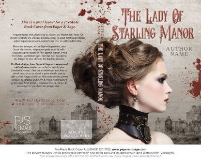 Print layout for Pre-Made Book Cover ID#0313201702 (The Lady of Starling Manor)