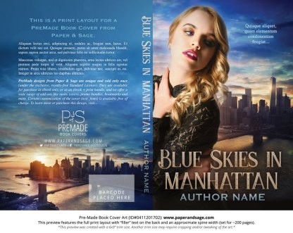 Print Layout for Pre-Made Book Cover ID#0411201702 (Blue Skies in Manhattan)