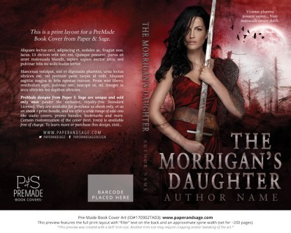 Print Layout for Pre-Made Book Cover ID#170902TA03 (The Morrigan's Daughter)