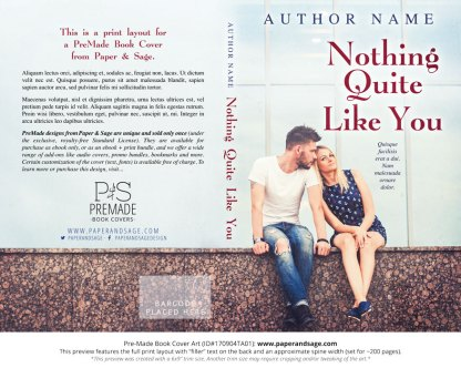 Print layout for Pre-Made Book Cover ID#170904TA01 (Nothing Quite Like You)