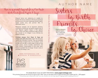 Print Layout for Pre-Made Book Cover ID#170910TA01 (Sisters by Birth, Friends by Choice)