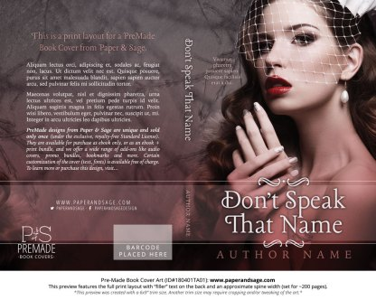 Print layout for Pre-Made Book Cover ID#180401TA01 (Don't Speak that Name)