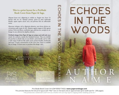 Print layout for Pre-Made Book Cover ID#180501TA02 (Echoes in the Woods)