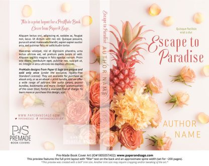 Print layout for Pre-Made Book Cover ID#180505TA02 (Escape to Paradise)