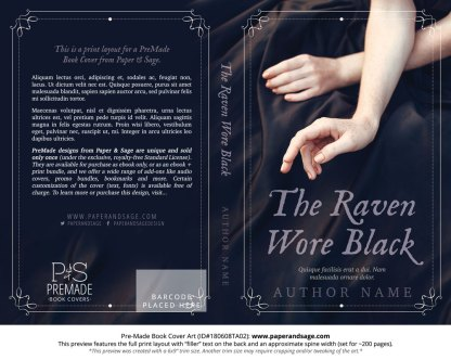 Print layout for Pre-Made Book Cover ID#180608TA02 (The Raven Wore Black)