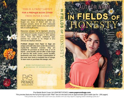 Print layout for Pre-Made Book Cover ID#180716TA01 (In Fields of Honesty)