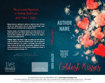 Print layout for Pre-Made Book Cover ID#180810TA01 (Coldest Kisses)