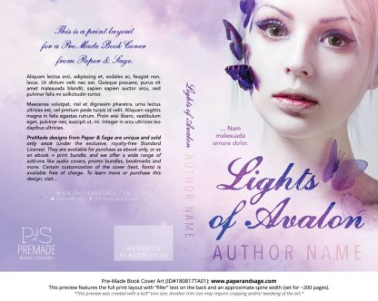 Print Layout for Pre-Made Book Cover ID#180817TA01 (Lights of Avalon)