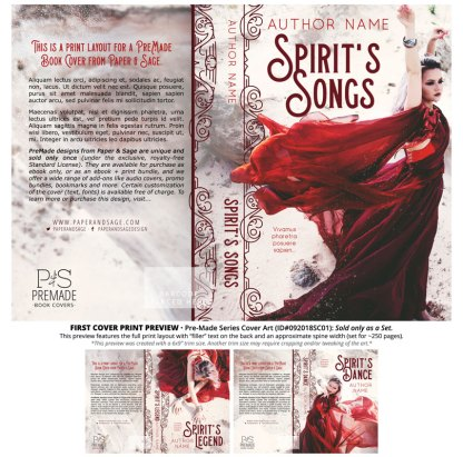Print Layout for PreMade Series Covers ID#092018SC01 (Spirit's Song Series, Only Sold as a Set)