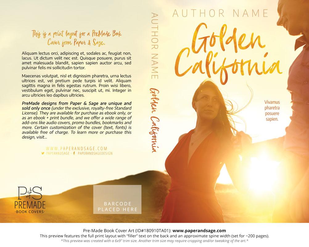 Premade Book Cover #180910TA01 (Golden California)