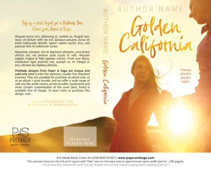 Print layout for Pre-Made Book Cover ID#180910TA01 (Golden California)