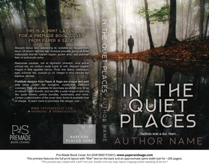 Print layout for Pre-Made Book Cover ID#180915TA01 (In the Quiet Places)
